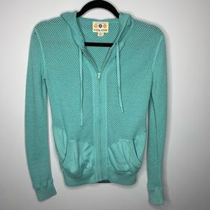 Title Nine Teal Crocheted Hoodie
